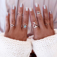 6PCS Vintage Turkish Beach Punk Geometry Ring Set Ethnic Carved Gold Plated Boho Midi Finger Ring Knuckle Charm anelli