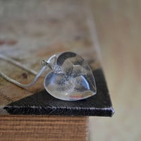 Heart dandelion pendant - romantic resin necklace with a real dandelion seed - sterling silver 925 chain - eco-friendly eco chic p0052