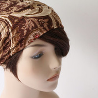 Shades of Brown Paisley Turban Head Wrap, Workout Headband, Women's Yoga Headband, Turband Womens Gift for Her Hair Accessories