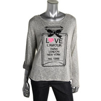 Style & Co. Womens Petites Knit Graphic Pullover Top