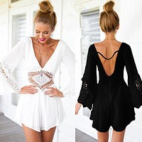 beach bodysuit women beach loose romper tunic V-neck playsuit crochet lace backless open back overall Jumpsuit white black 519