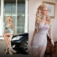 Luxuriant Champagne Sweetheart Sparkle Crystal Rhinestone Long Split Ball Evening Dresses Evening Gowns Chiffon