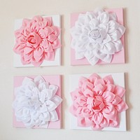 """Four Light Pink and White Flower Wall Hangings 12 x12"""" Canvases"""