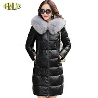 Winter Women Jacket High quality Thicker Large size Long True Leather coat Hooded True Fox fur Warm Genuine leather coat WK257