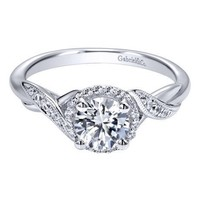 14K White Gold .90cttw Twisted Vintage Style Halo Round Diamond Engagement Ring