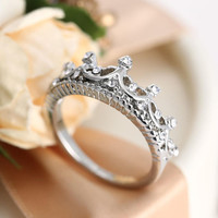 925 Silver Princess Crown Ring + Gift Box