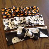 Halloween Top Knot Headbands - Candy Corn - Ghosts - Witches Hats