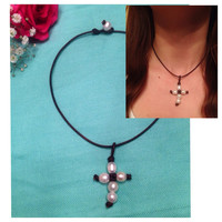 Pearl Cross Leather Necklace