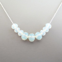 Row of opalite crystal, Gold filled, Sterling silver, Chain, Gold, Silver, Necklace, Modern, Beautiful, Opalite, Crystal, Gift, Jewelry