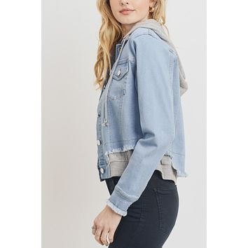 Casual Frayed Hem Terry Patch Denim Jacket With Detachable Hoodie