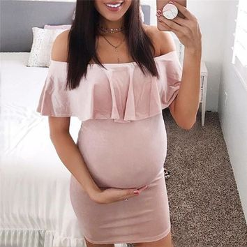 Maternity Clothes Pregnancy Clothes Fashion Women Pregnants Off Shoulder Ruffles Solid Casual Dress  Maternity Dress JE04#F