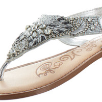 Naughty Monkey Lotus Women's Beaded Thong Sandals Shoes