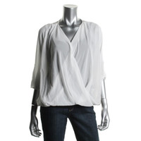BCX Womens Sheer Lace Back Blouse