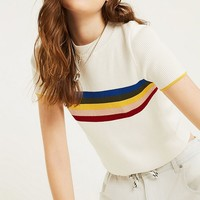 UO Rainbow Placement Stripe T-Shirt | Urban Outfitters