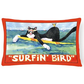 Black and white Cat Surfin Bird Decorative   Canvas Fabric Pillow