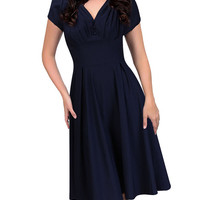 V-neck Short-Sleeve A-Line Dress