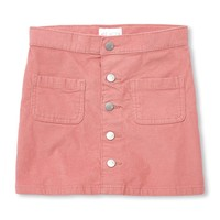 Girls Button-Front Cord Skirt