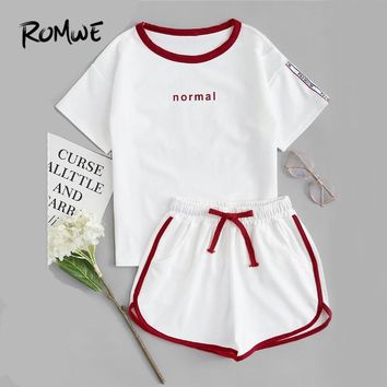 ROMWE Letter Print Tee With Shorts Summer Women Casual 2 Piece Set White Short Sleeve Tee and Shorts Sets