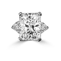 Intensely Radiant Rectangular Diamond Veneer Cubic Zirconia Sterling Silver Ring. 635R72098
