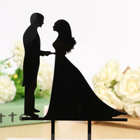 Personalized Wedding Cake Topper Acrylic Custom Name Cake Black Topper Custom Mr & Mrs Bilayer Casamento Structure