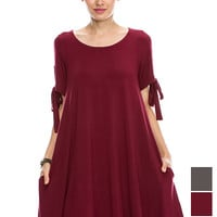 """Solid Round neck """"Tanboocel"""" Bamboo Dress bow detailed Short sleeve flowy swing 43985"""