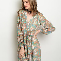 Plunging Paisley Dress