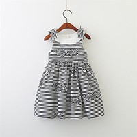 Spring Baby Girls striped Dress Clothes Children Sleeveless Kids square collar cotton causal Dresses