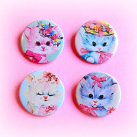 Kitschy pastel kittens - button badge or magnet 1.5 Inch