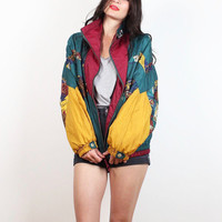 Vintage 1980s Windbreaker Jacket Dark Green Mustard Gold Burgundy Navy Print Bomber Jacket 80s Warm Up Track Sporty Slouchy Coat L Large XL