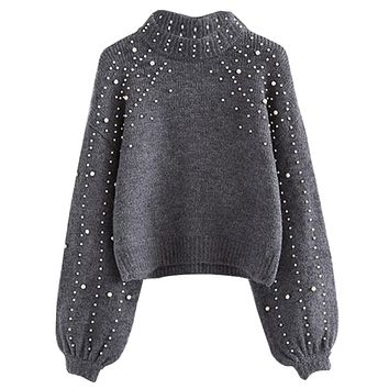 Women Knitted Sweaters With Pearls Fashion Casual Korean Style Female Long Sleeve Wrap Front Loose Pullover Jumper