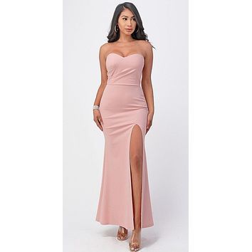 Long Fitted Sheath Blush Party Dress Strapless With Slit
