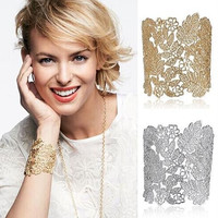 New Brand Letter SD Stella Bijoux Bracelets Lace Cuff Leaf Leaves Silver Gold Dot Fashion Trendy Bangles For Women 3676