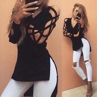 Women Blouse Deep V Cross Strap Long-sleeved Women Split T-shirt [8805154567]