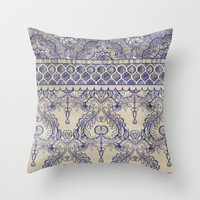 Vintage Wallpaper - hand drawn patterns in navy blue & cream Throw Pillow by micklyn