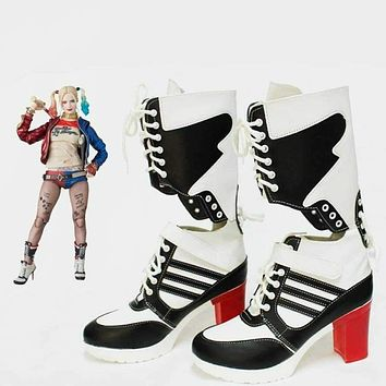 Halloween clown props Batman joker suicide squad harley quinn shoes cosplay adults woman boots ladies girls high-heeled shoes