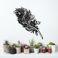 Feather Wall Decals Bedroom Abstract Vinyl Sticker Bohemian Bedding Home Decor Bedroom Dorm Living Room T127