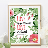 Bible printable quote art Love is patient love is kind Love decor love art boho painting flowers art home decor wedding gift poster flower