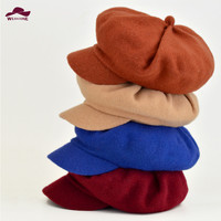 Winter&autumn wool newsboy caps outdoor solid beret cap painter hat Women men Vintage Octagonal Cap For Female male Casquette
