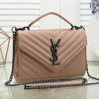 YSL Yves Saint Laurent Classic Popular Women Leather Handbag Shoulder Bag Crossbody Satchel Khaki
