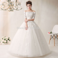 100% Real Sample Boat Neck Organza Long Wedding Dresses 2017 half Sleeves Back Lace UP Appliques Floor Length Wedding Gowns YN