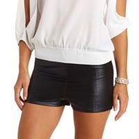 Paneled Faux Leather High-Waisted Shorts by Charlotte Russe - Black
