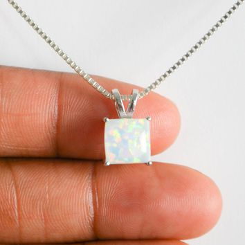 White Fire Opal Necklace, Sterling Silver Opal Necklace, Cushion Cut Opal Pendant, Dainty Bridal Necklace, October Birthstone Jewelry