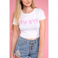 Pink Ew Bye White Graphic Crop Top