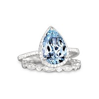 18K White Gold Natural 2CT Pear Cut Aquamarine Halo Bridal Set