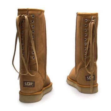UGG Women Fashion Strappy Leather Winter Half Boots Shoes