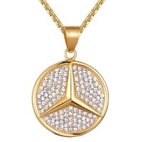 Men's Steel Luxury Car Logo  Gold Finish Pendant Chain