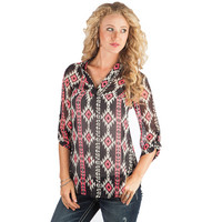 Women's Yahada Aztec Print Roll-Up Sleeve Tunic Top