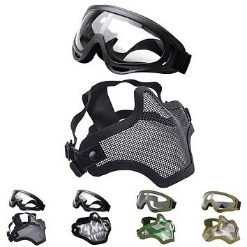 Outgeek Airsoft Half Face Mask Steel Mesh and Goggles Set black