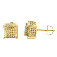 Mens 14K Gold Finish Canary Cube Earrings