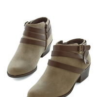 ModCloth Festival Everywhere I Go Bootie in Taupe